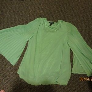 ALFANI LIGHT GREEN BLOUSE WITH PLEATED SLEEVES,SZ4